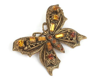 Topaz Rhinestone Butterfly Brooch Pin Vintage Insect Jewelry Germany