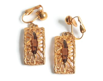 Gold Plated Filigree Topaz Glass Earrings SHP Dangle Clip On Vintage