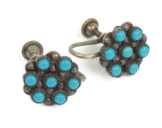 Sterling and Turquoise Bead Earrings Screw Back Native American Zuni Style