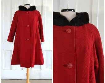 60s Coat Swing Coat 50s Fur Collar Coat  Tent Coat / Ruby Red Wool  Black Mink Collar Rhinestone Buttons - Extra Large to Extra Extra Large
