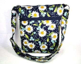 Daisies on Navy Handmade Fabric Cross Body Purse / Cell Phone Pocket