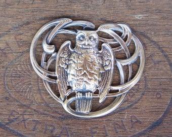 French Brass Stamping Antique Art Nouveau Owl Buckle Centrepiece Pendant