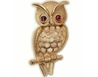 1970s Avon Gold Tone and Red Cabochon Vintage Hootie Owl Vintage Pin Brooch