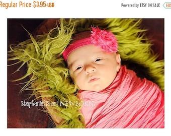 Baby Headband - Newborn Headband - Infant Headband - Hot Pink Shabby Chic Rose Flower on Stretch Headband - Photography Prop