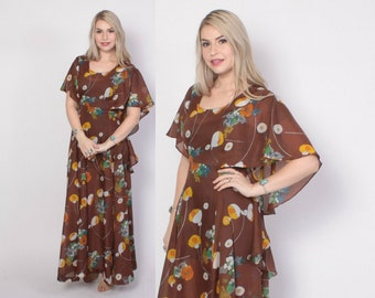 Vintage 60s MAXI DRESS / 1960s Bright Semi Sheer Floral Print Cape Back Boho Dress S