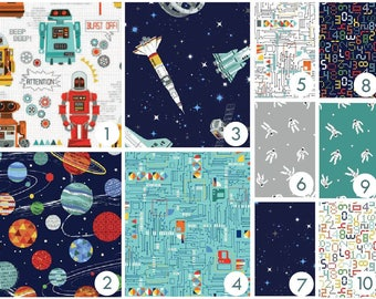 Baby Bedding - Robot Galaxy - Custom Crib Bedding - Navy, Aqua, Teal,Gray, Orange, Red