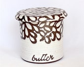 French Butter Keeper , White Modern Floral French