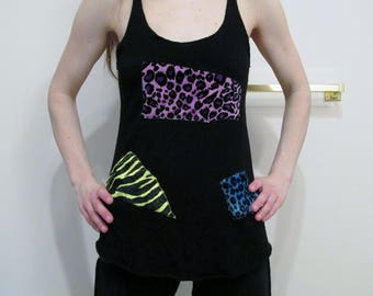 CUSTOM Patchwork Bamboo Racerback Tank Top XS-XL Color Choices
