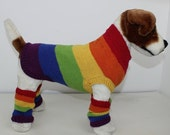 HALF PRICE SALE Rainbow Dog Coat and Legwarmers knitting pattern by madmonkeyknits instant digital file pdf download knitting pattern