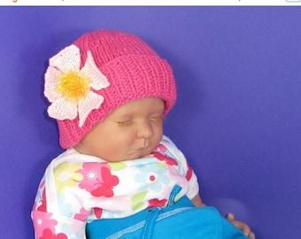 HALF PRICE SALE Instant Digital pdf download knitting pattern- Baby Flower Beanie Hat Knitting Pattern