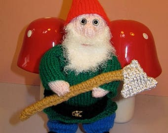 50% OFF SALE Instant Digital File pdf download knitting pattern - Garden Gnome toy knitting pattern pdf download by madmonkeyknits
