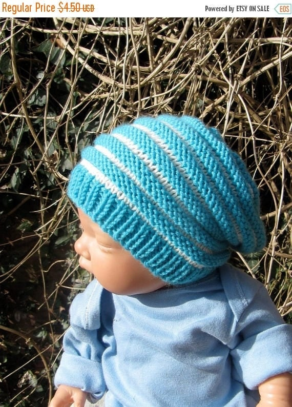 50% OFF SALE Digital pdf download knitting patten -Baby Stripe Slouch  Hat pdf knitting pattern