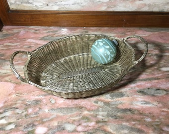 """Vintage Silver Metal Woven Basket With Handles 10"""" Mesh"""