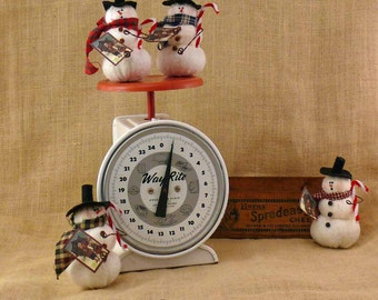 Small Fabric Snowman with Candy Cane Going Caroling