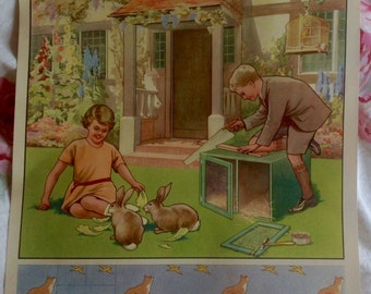 Vintage 1930s Classroom Print or Poster ' Mending The Rabbit Hutch'