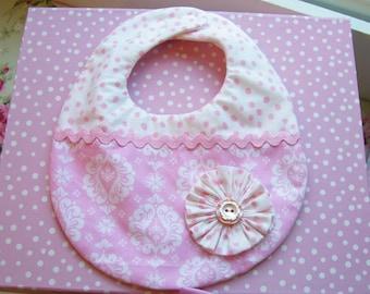 Sweet Baby Bib...Reversible...Pink and White