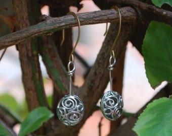 Silver Scrollwork Earrings