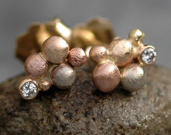 Little Diamonds in Orb Cluster Rose Gold and Yellow Gold Post Earrings- Ready to Ship Post Earrings