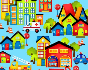 BE MY HERO by Henry Glass - Light Blue Town Scenic - #1019-11 - fire truck fabric - police - city town - quilt fabric