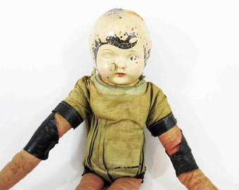 Vintage Creepy Celluloid Head Doll with Handmade Body. Circa 1930's.