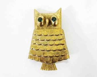 Vintage Gold Tone Owl Brooch with Emerald Reinstone Eyes by AVON. Circa 1960's.