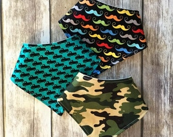 Baby Toddler Drool Bib Bandana Bibdana Waterproof - You Choose the Fabric - trendy geekly mustache tiny trucks turquoise brown green camo