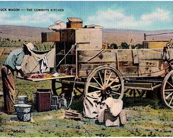 Vintage Western Postcard - The Chuck Wagon (Unused)
