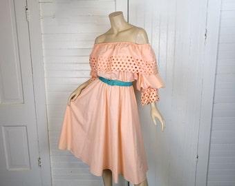 80s Peasant Dress in Peach- Off the Shoulder 1980s Beach Disco- Medium