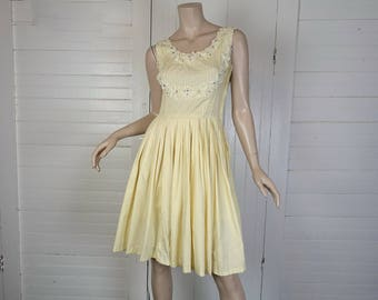 50s Butter Yellow Dress- Lace & Rhinestones- Pleated Cotton- 1950s- Extra Small- Party, Cocktail, Summer, Spring, Sleeveless