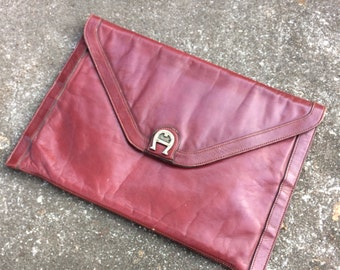 Vintage Etienne Aigner Envelope Clutch Oxblood Leather Purse