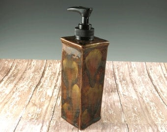 Ceramic Soap Dispenser - Dish Soap Dispenser - Shades of Brown Liquid Soap Dispenser - Hand Soap - 267