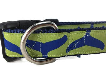Dog Collar, Whale Tail, 1 inch wide, adjustable, quick release, metal buckle, chain, martingale, hybrid, nylon