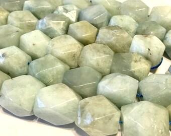 """Aquamarine chunky beads full 15"""" strand lovely color giant aquamarine"""