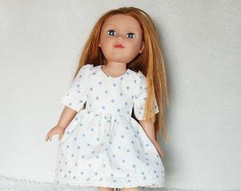 "18 "" Doll's Midi Dress, Blue & white polka dot fashion doll dress, 18 inch dolls ruffled mid-length dress"