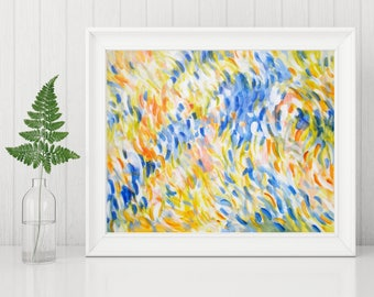 Abstract Printable Art - Abstract Art Print - Blue and Yellow Painting Instant Print - Contemporary Art - Modern Home Decor - 8x10 11x14
