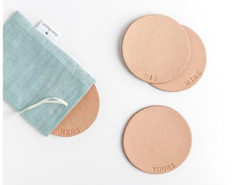 Leather coasters with lettering. Personalized your set - Free shipping  to the USA