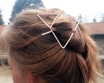 Triangle hair barrette Geometric hair clip Large hair barrette Copper hair slide for long Hair slide Bun holder Gift for Womens gift For her