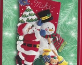 """Holiday Time Felt Applique Christmas Stocking Kit #84190, 18"""" Santa & Frosty, Bucilla for WalMart, Opened and Missing Instructions"""