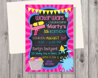 Digital Chalkboard Style Water Wars Water Guns and Balloons Splash Birthday Girl Pink Invitation Printable