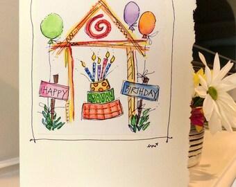 "Birthday House Watercolor Original Card ""Big Card"" 5x7 With Matching Envelope  betrueoriginals"