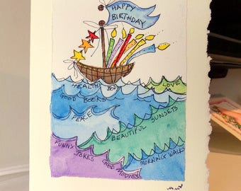 "Birthday Boat Ocean Wishes Watercolor Original Card ""Big Card"" 5x7 With Matching Envelope  betrueoriginals"
