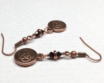 Celtic Knot Earrings, Copper Dangle Earrings,