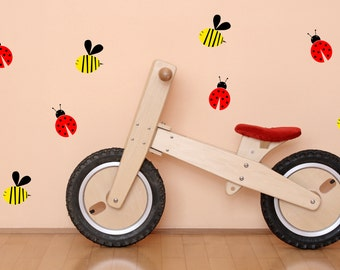 Ladybug and Bee Set-Vinyl Decal - Nursery Decor - Children stickers - Childrens Wall Decor