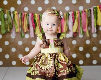 Girls Knot Dress- Spring Dress- by Melon Monkeys