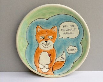 "Fox Plate, Small,  Green Blue and Orange Salad Plate or Luncheon Plate, Home Decor, Animal Art Pottery, ""You Are My Spirit Animal"""