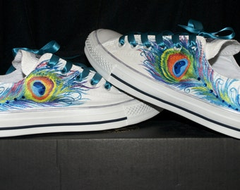 Custom Hand Painted Peacock Wedding Converse