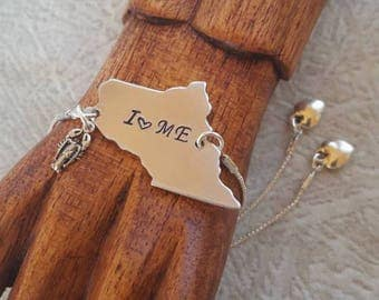 Maine State Slider Bracelet - Or Choose Your State - Choice Of Charm - Silver Wire - One Size Fits All - Adjustable Bracelet