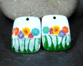 Colorful Floral Enameled Copper Earring Charms, Rainbow Flower Earring Pair, Rectangle Pendants, Garden Nature, Sgraffito Earring Beads