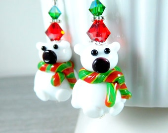 Polar Bear Dangle Earrings, Christmas Earrings, White Red Green Lampwork Earrings, Teddy Bear Earrings, Winter Holiday, Animal Jewelry, Cute