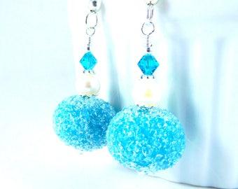 Teal Sugar Glass & White Freshwater Pearl Dangle Earrings, Blue Green Snowball Earrings, Spring Easter Jewelry, Lampwork Earrings, Feminine